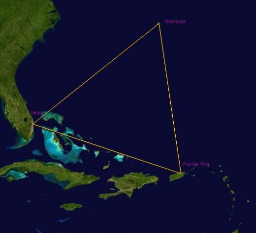 Aerial view of Bermuda Triangle