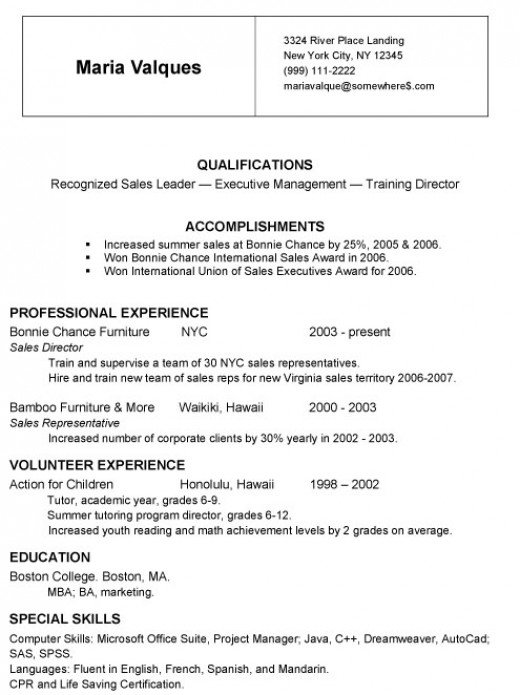 chronological resume format. A Simple Chronological Resume