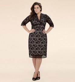 Plus Size 3/4 Sleeved Scalloped Boudoir Lace Dress
