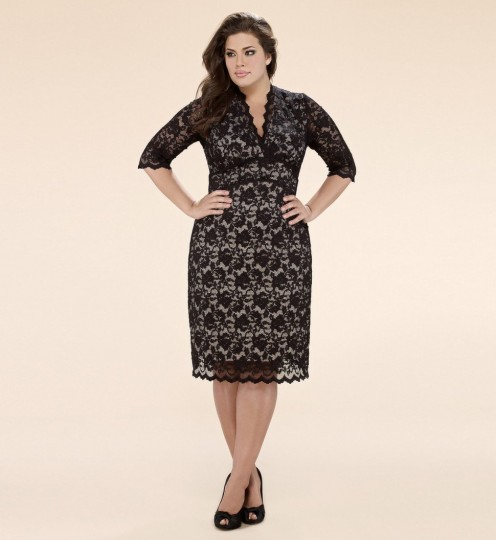Plus Size 3/4 Sleeved Scalloped Boudoir Lace Dress