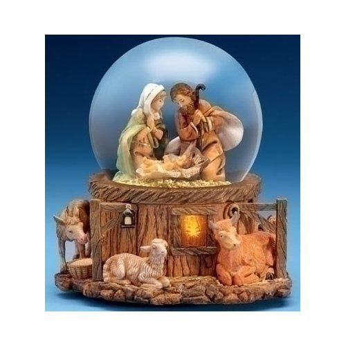 Fontanini Musical Lighted Nativity Stable Scene Christmas Glitterdome