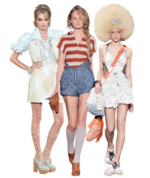Spring 2010 looks from Chanel, Alexander Wang, and Louis Vuitton