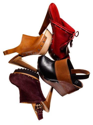 The high heeled wooden clog