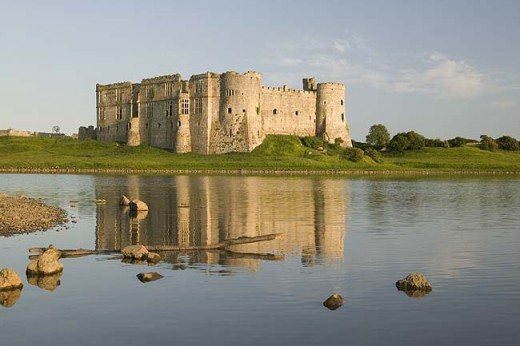 Tidal mill pool view of Carew Castle
