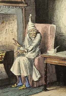 Ebenezer Scrooge in A Christmas Carol, by Charles Dickens. Illustration by John Leech, 1843.