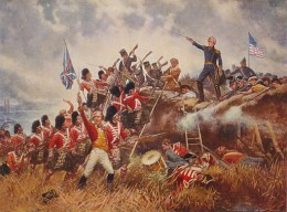 1910 painting by Edward Percy Moran. The Battle of New Orleans. General Andrew Jackson stands on the parapet of his makeshift defenses as his troops repulse attacking Highlanders