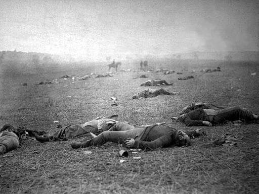 ncidents of the war. A harvest of death, Gettysburg, PA. Dead Federal soldiers on battlefield. Negative by Timothy H. O'Sullivan. Positive by Alexander Gardner.