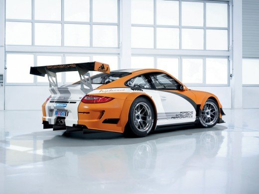 With the 911, electrical front axle drive with two electric motors developing 60 kW each supplements the 480-bhp four-liter flat-six at the rear of the 911 GT3 R Hybrid