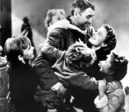 Scene from Its A Wonderful Life starring James Stewart and Donna Reed.
