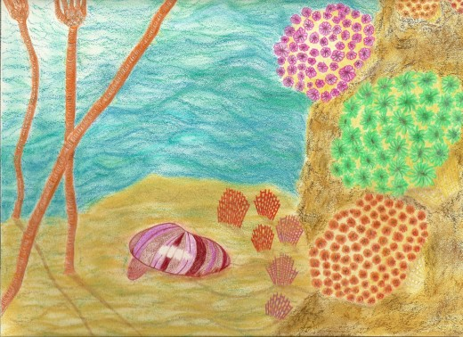 Rendition of Paleozoic Seascape with Crinoids, Clam,  Bryozoans & Petoskey Corals
