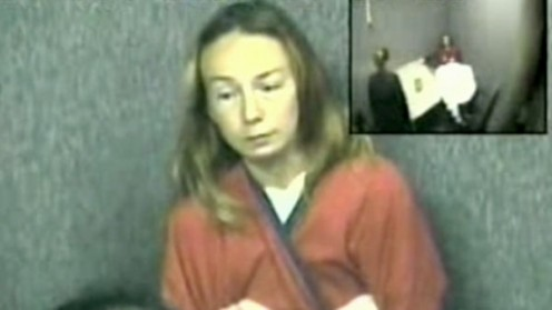 Still from police footage during interview with Elaine at Vanier Centre for Women on October 4th, 2006, the day she called police about her death of her daughters.