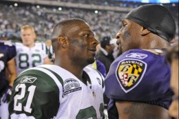 LaDainian Tomlinson, left, and Baltimore Ravens linebacker Ray Lewis Monday, Sept. 13, 2010