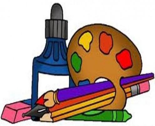Ink, eraser, palette, color pencil, pen, crayon, lead pencil.