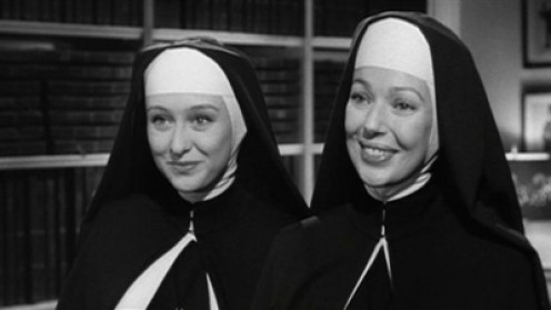 "Celeste Holm and Loretta Young in ""Come to the Stable."""