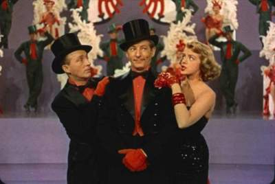 "Bing Crosby, Danny Kaye and Rosemary Clooney in ""White Christmas."""
