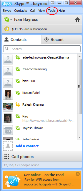 Diagram 5.  Signed into Skype