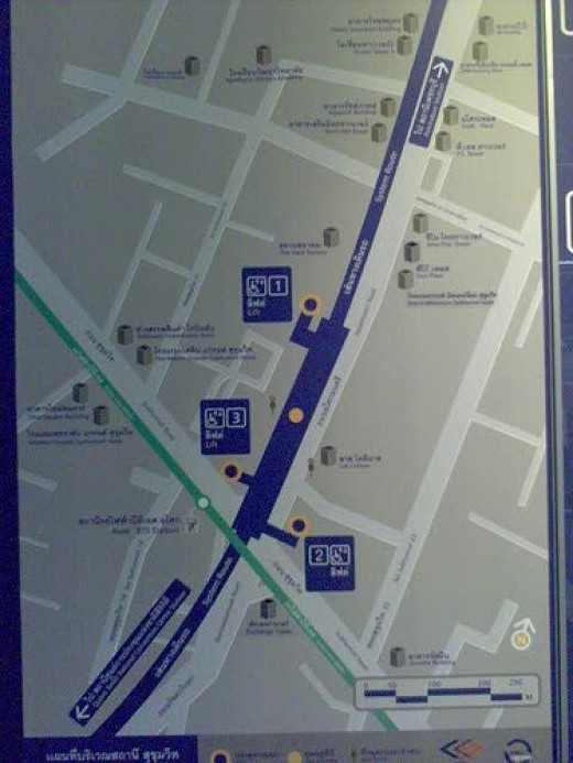 Each station has a map numbering all points of exit
