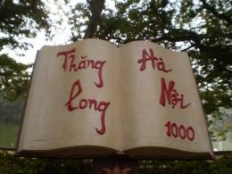A monument near Hoan Kiem Lake celebrating Hanoi's 1000 years.