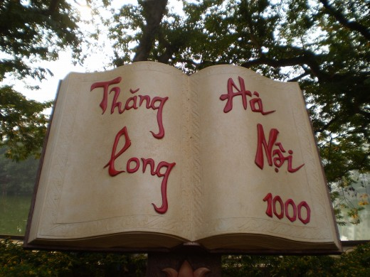 A monument near Hoan Kiem Lake celebrating Hanoi's 1000 years.