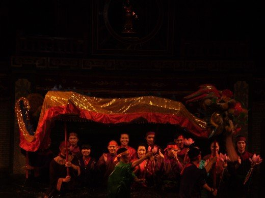 The finale of the water puppet show in Hanoi.