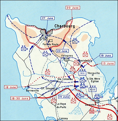 COASTAL MAP SHOWING CHERBOURG