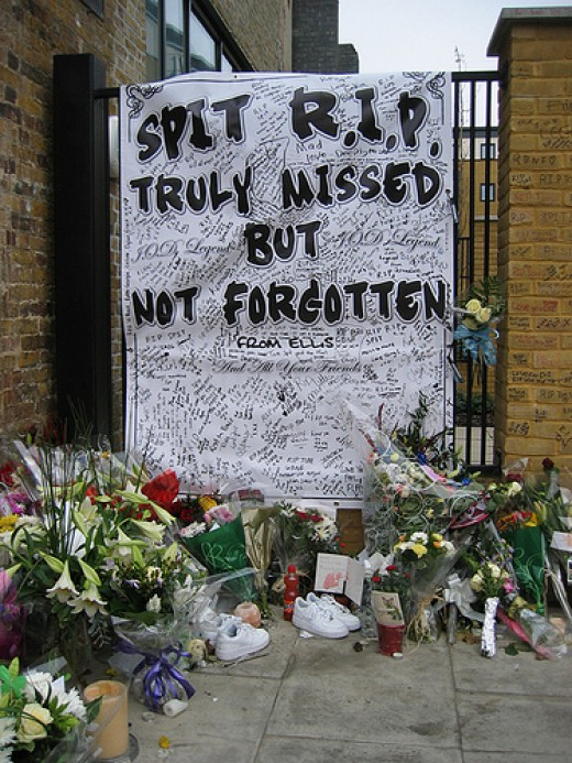 The memorial opposite where he died.