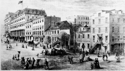 "This is ""Newspaper Row"" in Washington, D.C., from ""Harper's New Monthly Magazine"" in January 1874."