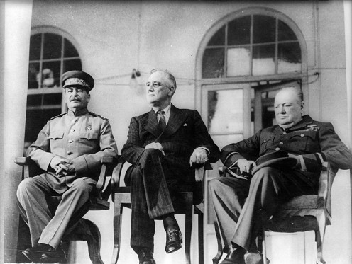 Left to Right, Joseph Stalin, Franklin D. Roosevelt, and Winston Churchill.  Public Domain.