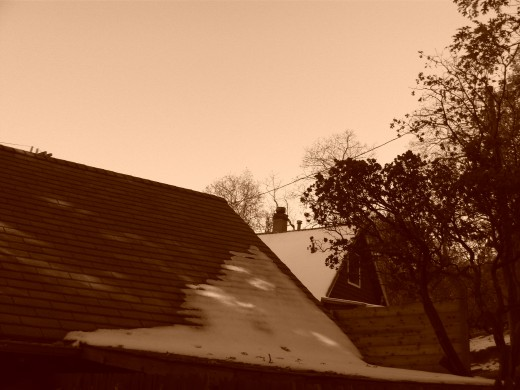 This photograph of the roof with snow on it looks very interesting with a sepia tone.
