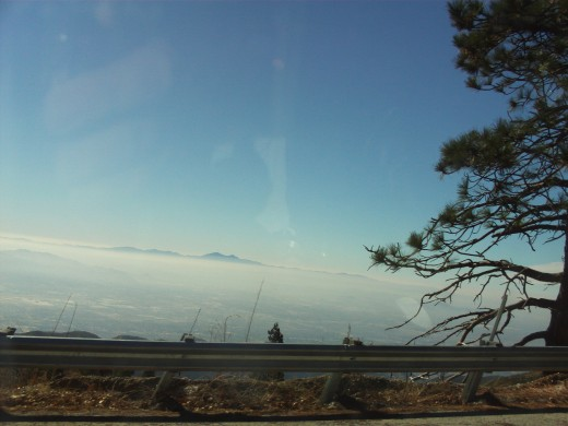 The cloud cover of the valley below the San Bernardino Mountains as seen from the Rim of the World Highway.