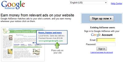 Google Adsense screenshot.
