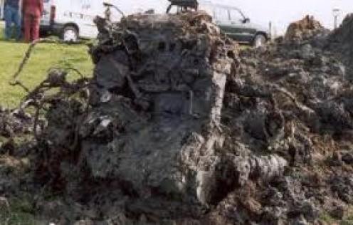 Excavated wreckage of Hawkeye Lee's Hurricane
