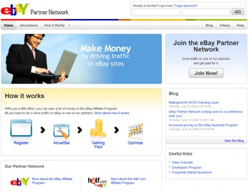 E-bay Partner Network screenshot.