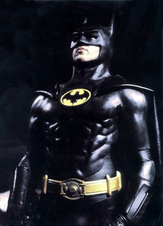 "Michael Keaton as Batman in Burton's 1989 film ""Batman"""