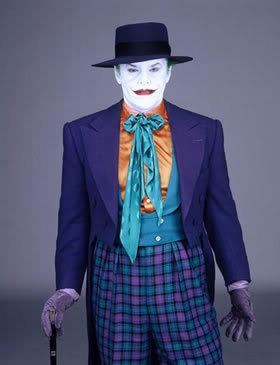 "Jack Nicholson as The Joker in Burton's 1989 film ""Batman""."
