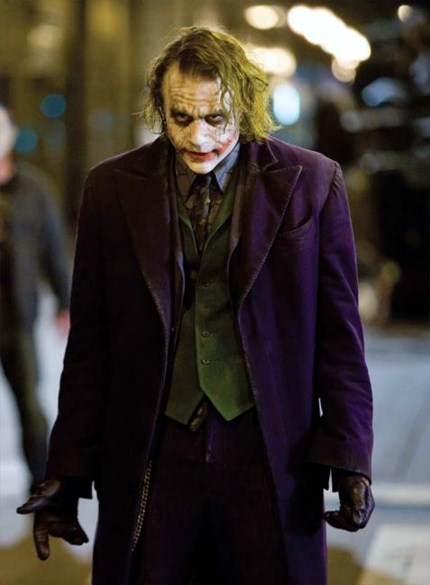 "Heath Ledger as The Joker in Nolan's 2008 film ""The Dark Knight"""