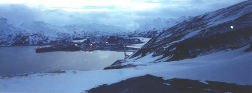 The town of Unalaska at dusk