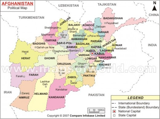 Afganistan map courtsey: maps of world