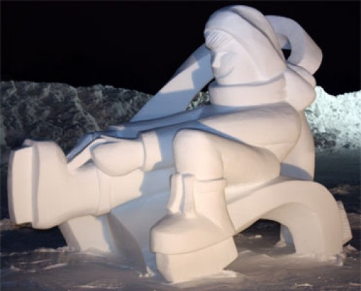 Huge snow  sculpture greets Carnival visitors