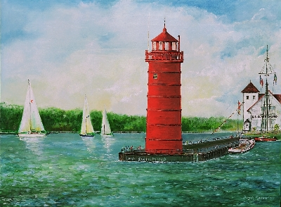 """Muskegon Light"" oil on canvas by Frank Roosa"
