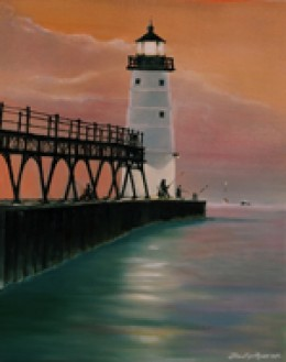 """Manistee Lighthouse"" oil on canvas by Frank Roosa."