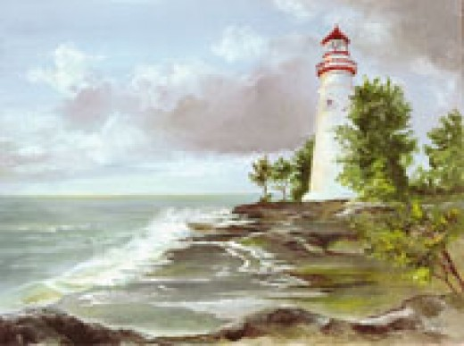 """Marble Head Light"" oil on canvas by Frank Roosa."