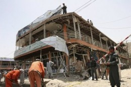 Security outside bombed Indian consulate in Kabul