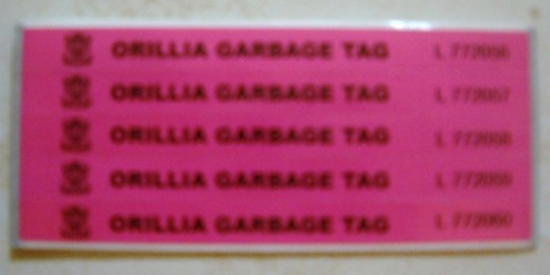 Garbage Tags - Each year the color of the garbage tags will change. You can however use this years tags next year until they're all gone.