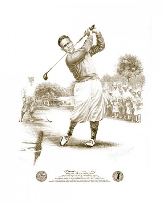 Beautiful Drawing of Bobby Jones with Golf Club