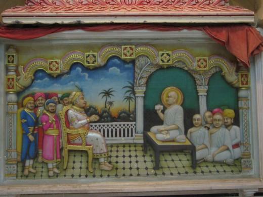 Jin Chandra Suri, fourth Dadaguru is preaching Mogul emperor Akbar