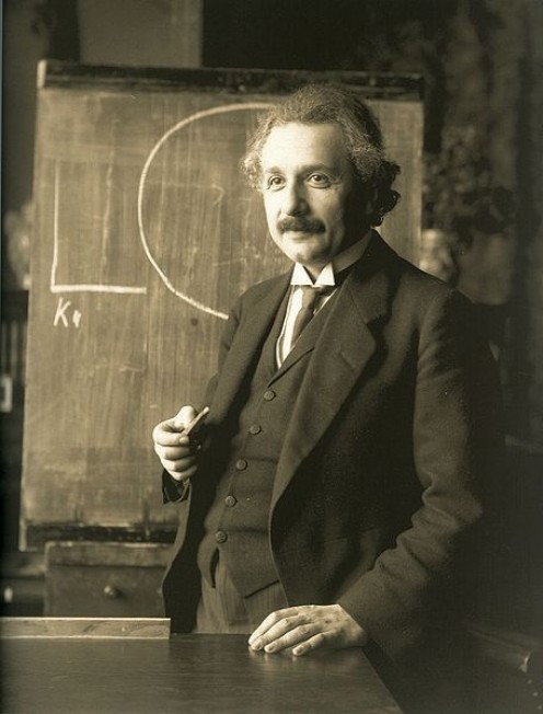 Einstein, the one who first brought the idea of an atomic bomb to Roosevelt's attention.