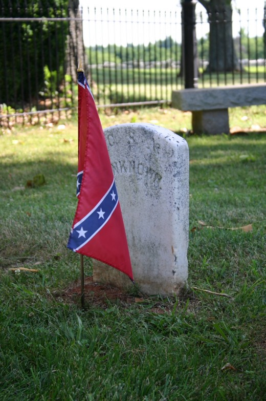 Confederate cemetery with unknown soldier at the Appomattox Courthouse National Historical Park
