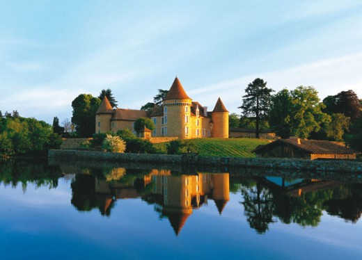 View of the chateau over the lake