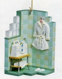 Barbie's Spa Set - spa setting in dollhouse form with spa bathrobe and towels set against green / blue ceramic tile